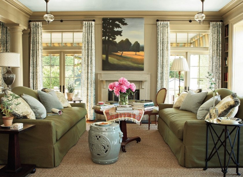 Traditional Green Living Room Elegant Decorating Around the Tv
