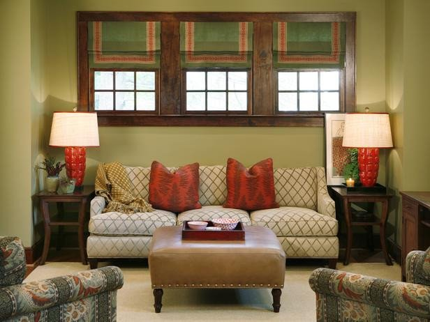 Green Traditional Living Room With Nailhead Coffee Table