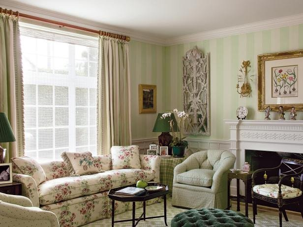 Traditional Green Living Room New Antique Filled Traditional Living Room In Cream and Green