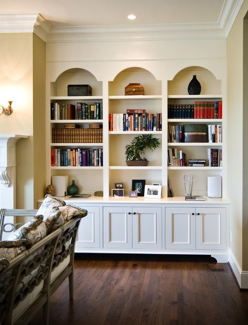 Traditional Living Room Bookcases Awesome Arched Frame Bookcases Traditional Living Room Charleston by Hostetler Custom Cabinetry