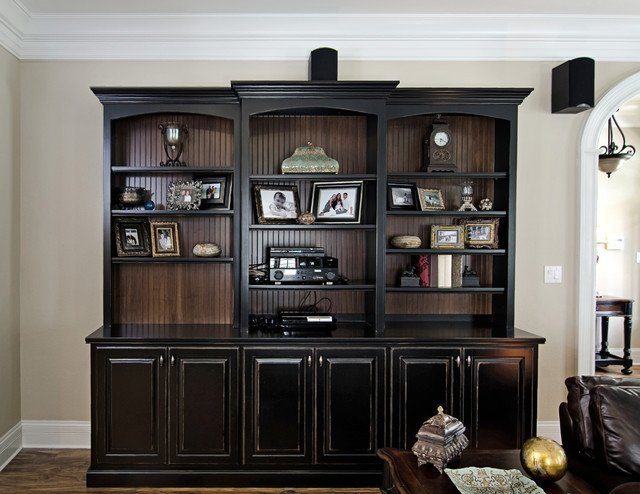 Traditional Living Room Bookcases Lovely Black Painted Bookcase with Beadboard Interior Traditional Living Room by Kirkland Custom