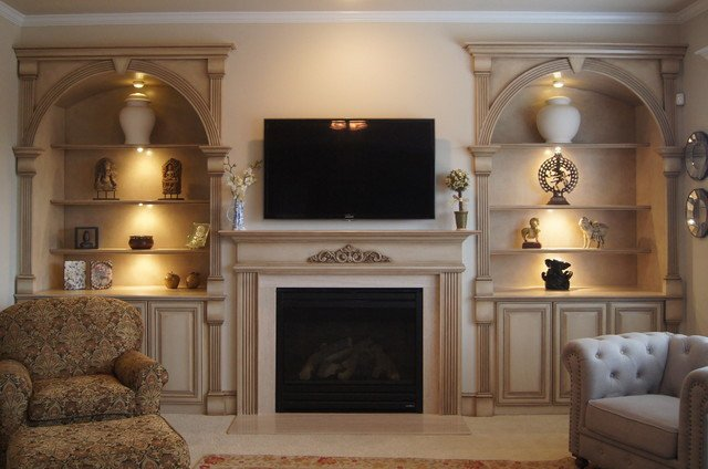 Traditional Living Room Bookcases New Bookcases and Fireplace Mantels Traditional Living Room atlanta by Creative Cabinets and