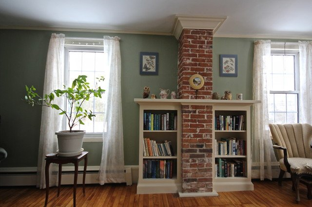 Traditional Living Room Bookcases New Chimney Bookcase Traditional Living Room Portland Maine by Block Brothers Custom Cabinets
