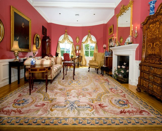 Traditional Living Room Carpets Elegant Aubusson Rug In French Style Room Traditional Living Room Boston by Landry & Arcari Rugs