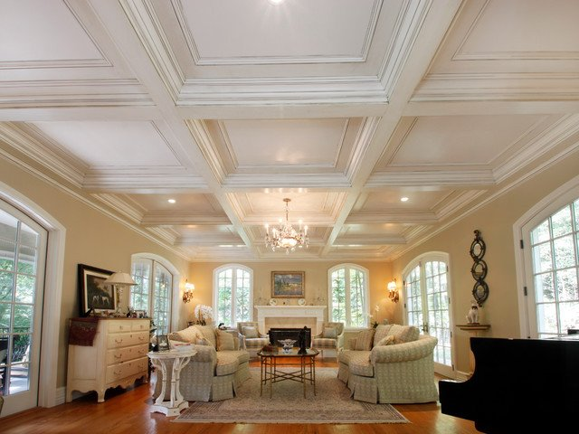 Traditional Living Room Ceiling Elegant Coffered Ceilings