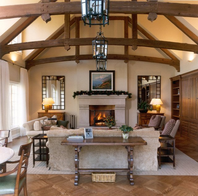 Living Room w Wood Beam Ceiling Traditional Living Room Other by Benvenuti and Stein