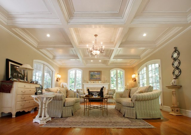 Traditional Living Room Ceiling New Coffered Ceilings Traditional Living Room New York by Tilton Coffered Ceilings