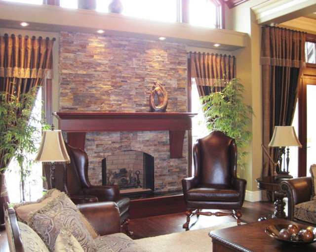 Traditional Living Room Fireplace Inspirational Traditional Open Concept Stone Fireplace Traditional Living Room Cleveland by Realstone