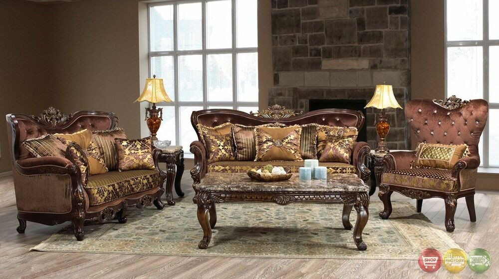 Traditional Living Room Furniture Beautiful Opulent Traditional ornate sofa & Love Seat formal Living Room Furniture Set