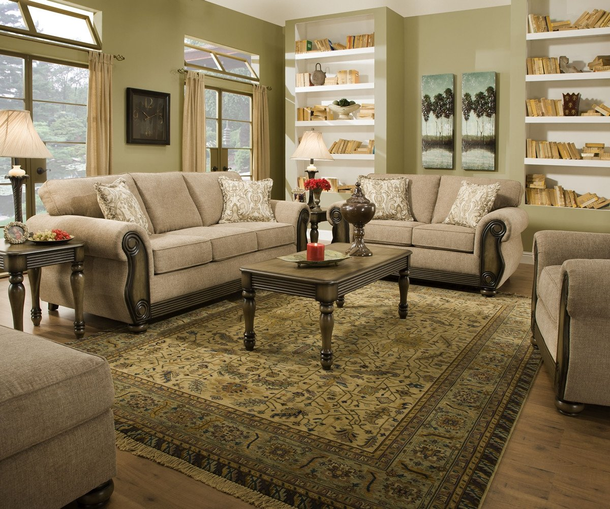 Traditional Living Room Furniture Best Of theory Dunes Traditional Beige Living Room Furniture Set W Exposed Wood Pillows