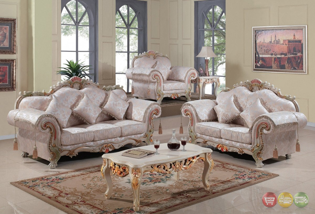 Traditional Living Room Furniture Luxury Luxurious Traditional Victorian formal Living Room Set Antique White Carved Wood