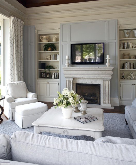 Traditional Living Room Gray Elegant Regal Reflection
