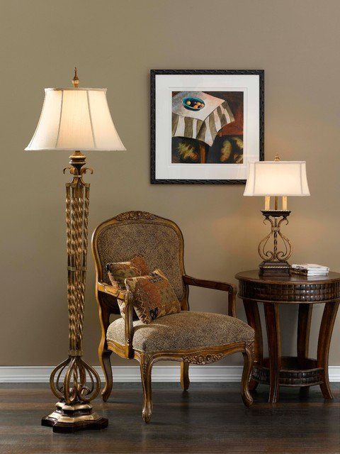 Castalia Floor Lamp and Table Lamp from Murray Feiss Lighting Traditional Living Room by