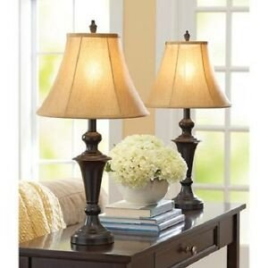 Traditional Living Room Lamps Fresh Traditional Table Lamp Set Of 2 Living Room Decor Metal Base Gold Fabric Shade