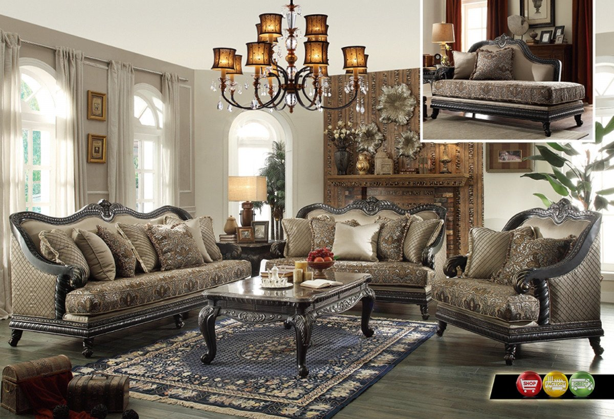 Traditional Living Room Sets Beautiful Traditional European Design formal Living Room Luxury sofa Set Dark Wood Frames