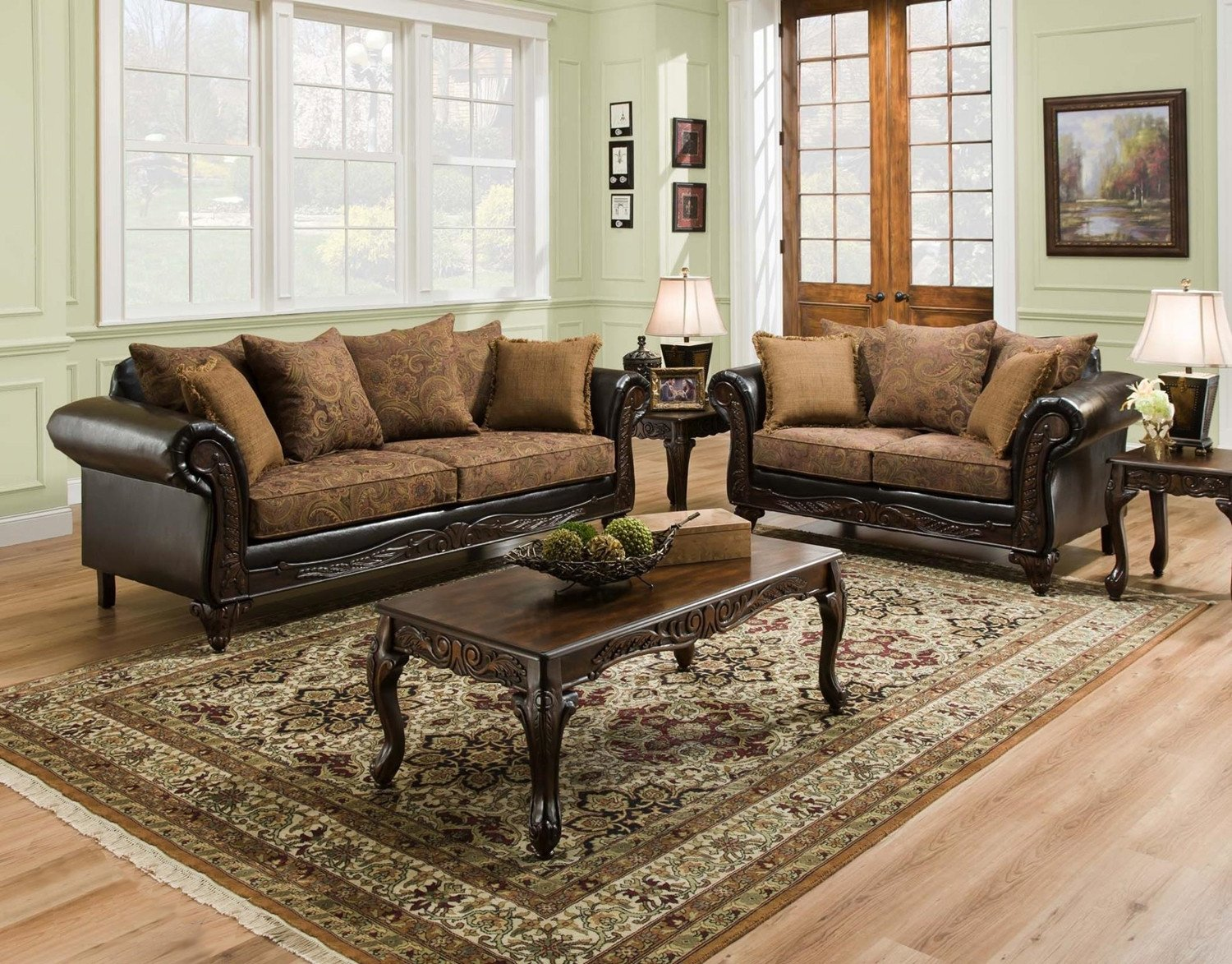 Traditional Living Room Sets Elegant San Marino Traditional Living Room Furniture Set W Wood Trim & Accent Pillows