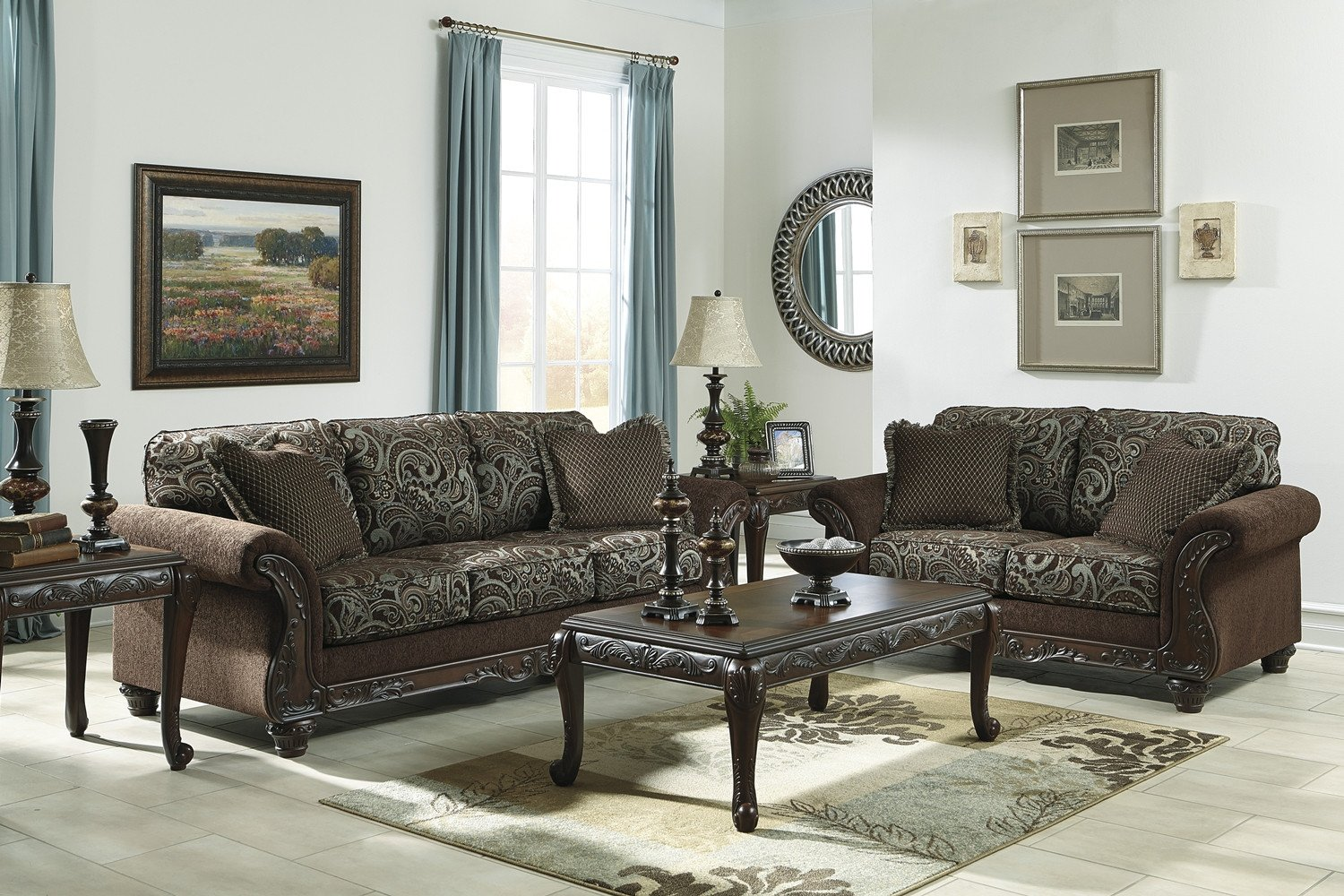 Traditional Living Room Sets Inspirational Traditional Style Brown sofa & Love Seat Living Room Furniture Set