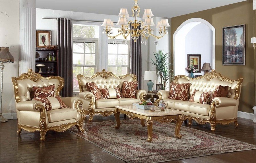 Traditional Living Room Sets Lovely Bennito 676 Traditional Living Room Set In Gold Finish