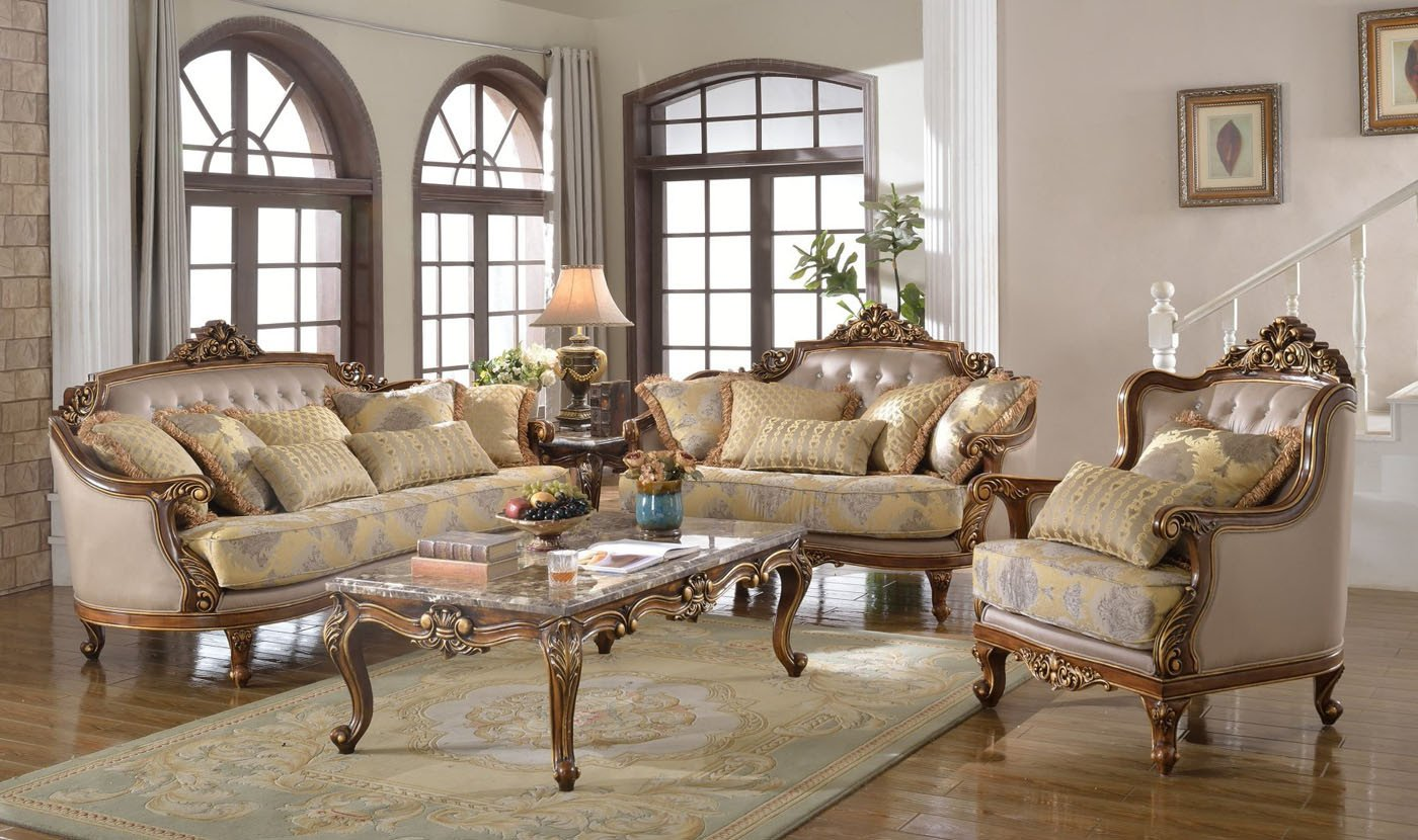 Traditional Living Room Sets Luxury Fontaine Traditional Living Room Set sofa Love Seat Chair Exposed Wood Victorian Style