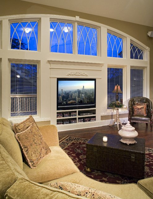 Traditional Living Room Tv New Tv Wall Glass Traditional Living Room Other by the Cabinetry Boutique