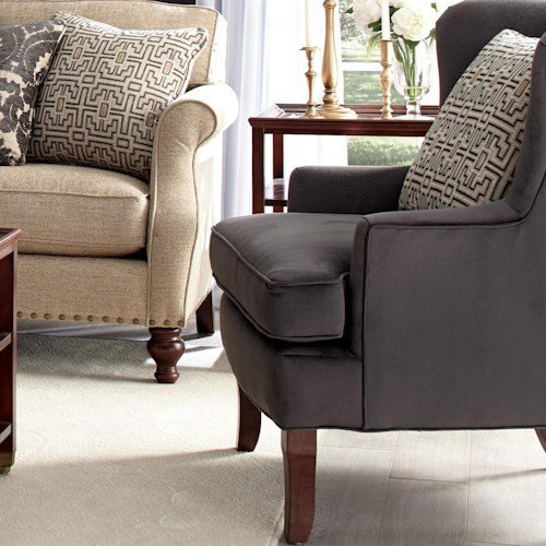 Traditional Living Room Upholstered Chairs Fresh Craftmaster Accent Chairs Traditional Upholstered Wing Chair with Track Arms and Exposed Wood