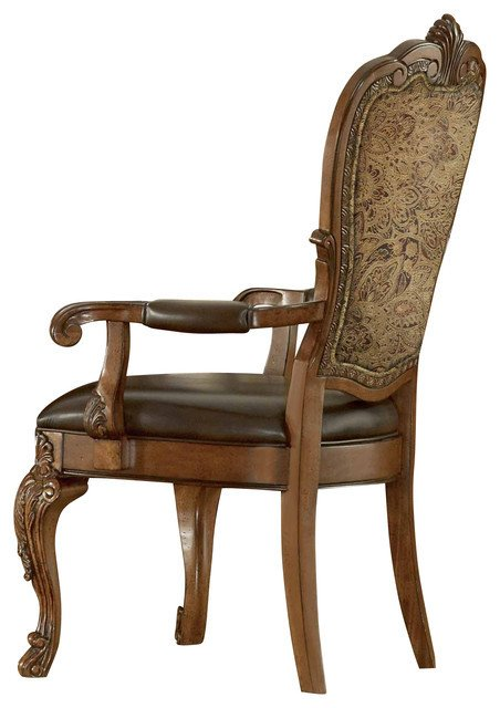 Traditional Living Room Upholstered Chairs Inspirational A R T Old World Upholstered Arm Chair Cherry Set Of 2 Traditional Living Room Furniture