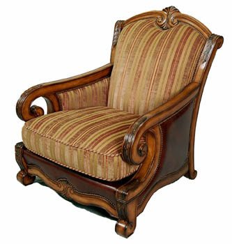 Traditional Living Room Upholstered Chairs Inspirational Traditional Italian Fabric and Leather Upholstered Living Room Accent Club Chair