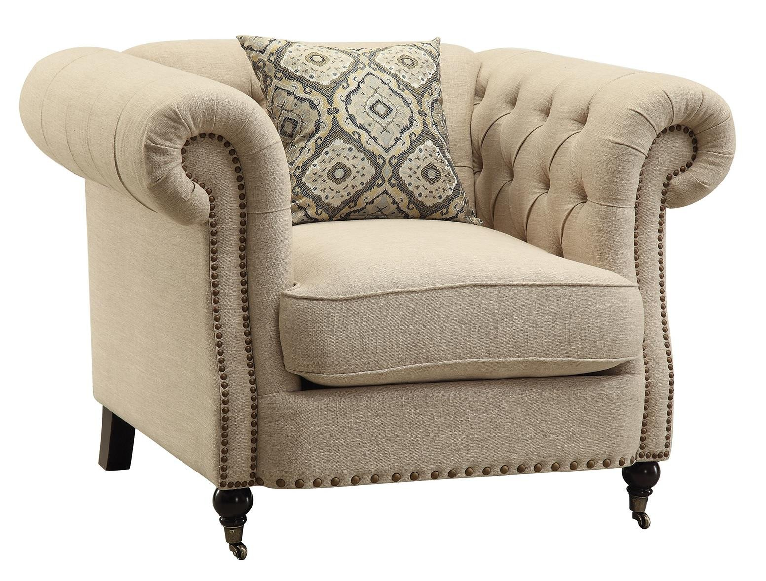 Traditional Living Room Upholstered Chairs Lovely Coaster Trivellato Traditional button Tufted Chair with Rolled Arms and Nailheads