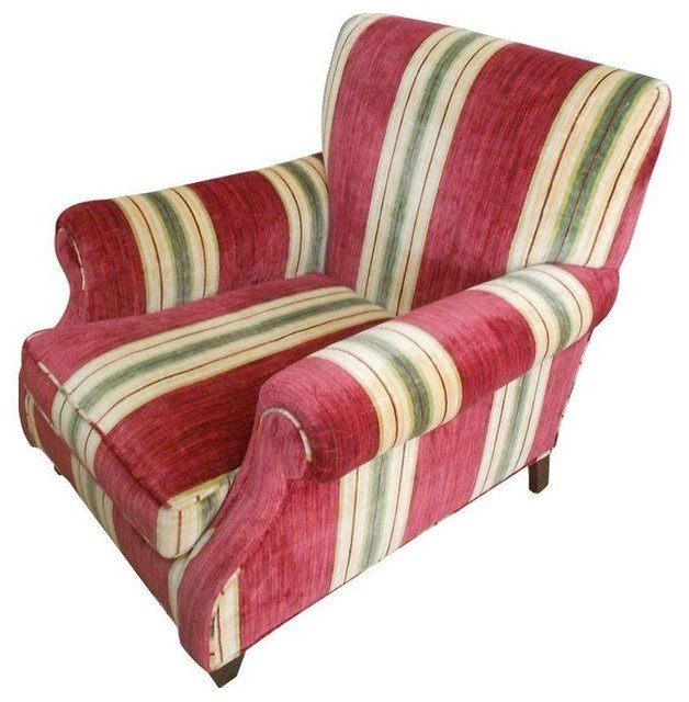 Traditional Living Room Upholstered Chairs Lovely Custom Upholstered Chair In Red Stripe Traditional Living Room Chairs by Chairish