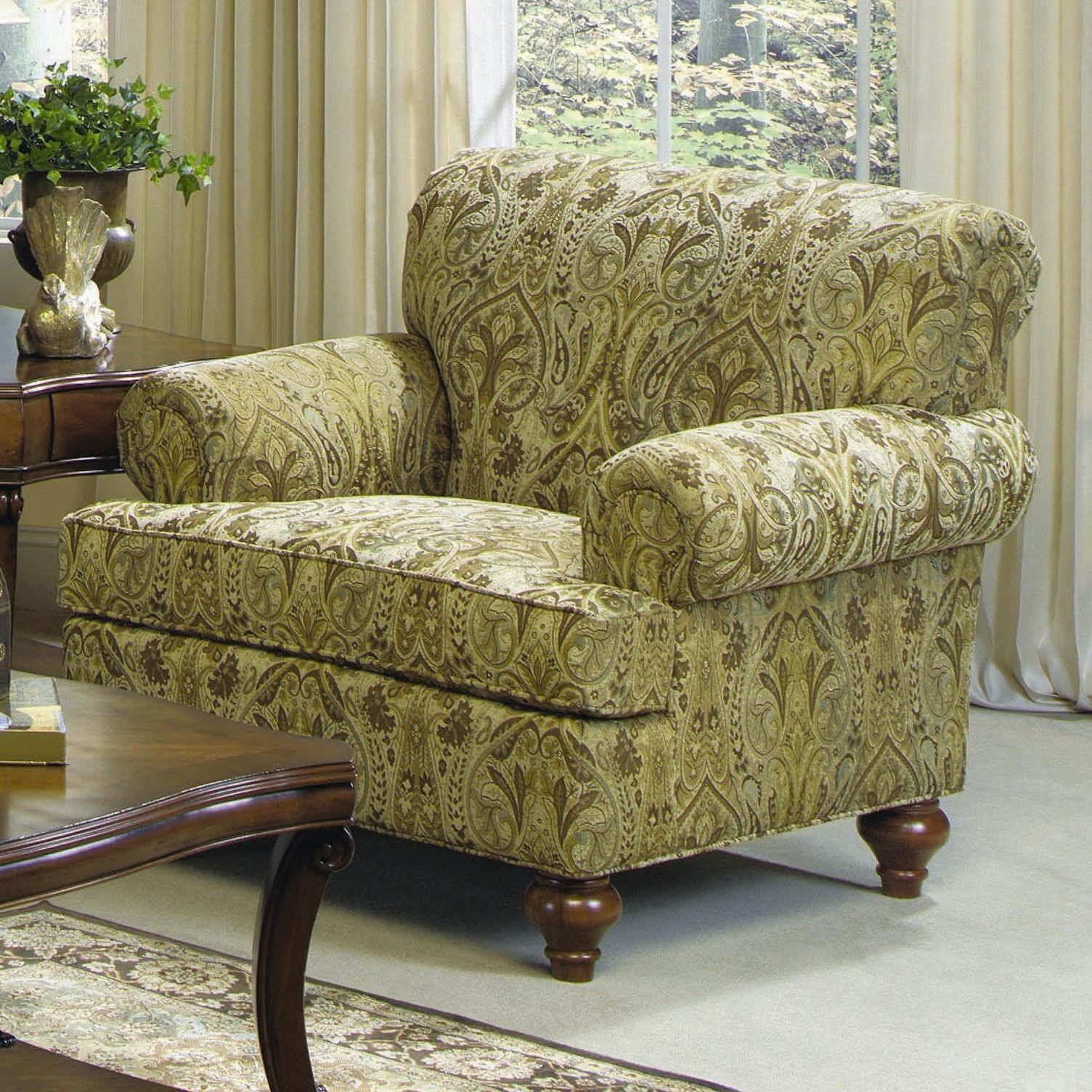 Traditional Living Room Upholstered Chairs Luxury Craftmaster 7047 Traditional Upholstered Chair with Turned Wood Legs Vandrie Home Furnishings