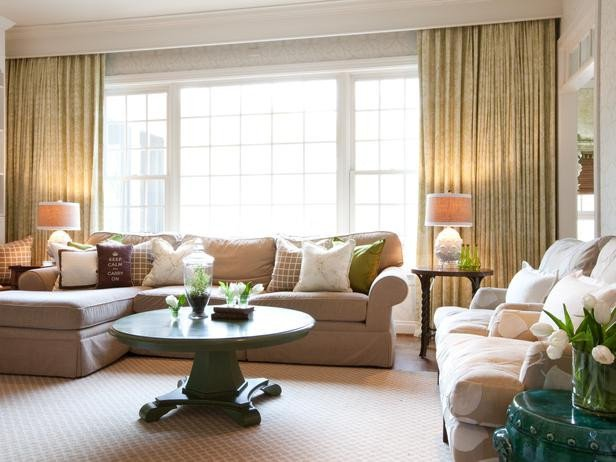 Traditional Living Room Windows Awesome Neutral Traditional Living Room with Green Accents Designers Portfolio Hgtv Home & Garden