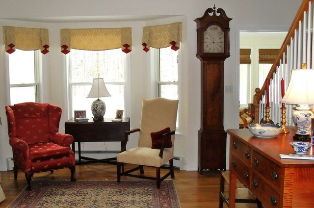 Traditional Living Room Windows Elegant Window Treatment for Bay Window area Traditional Living Room Portland Maine by Cloth