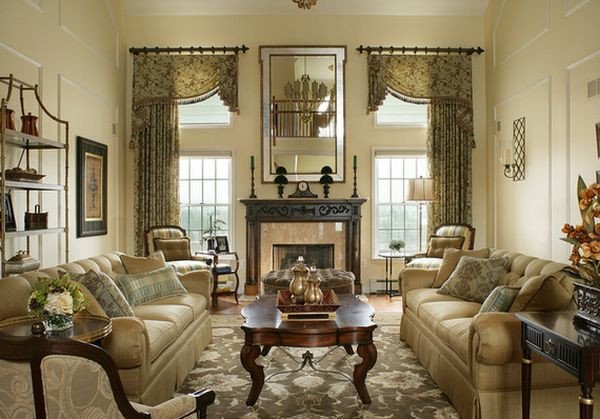 Traditional Living Room Windows Lovely Traditional Living Room Tall Window Treatment