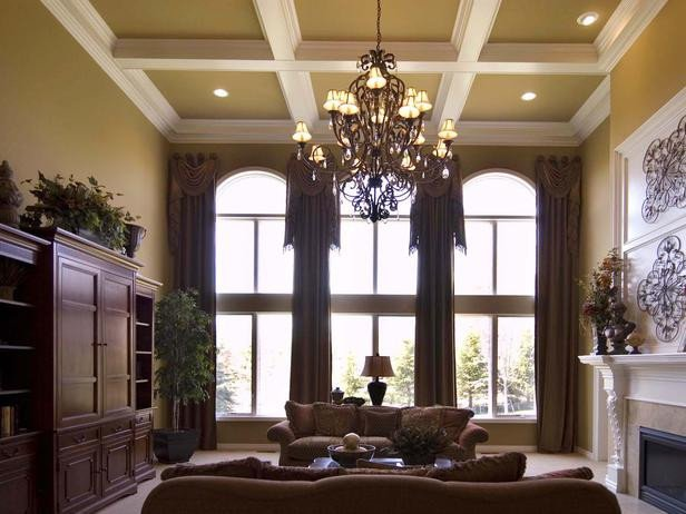 Traditional Living Room Windows Unique Traditional Living Room with Coffered Ceiling