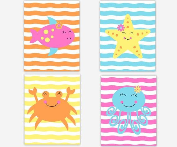 Under the Sea Bathroom Decor Beautiful Kids Bath Wall Art Bathroom Decor Under the Sea Decor Girl