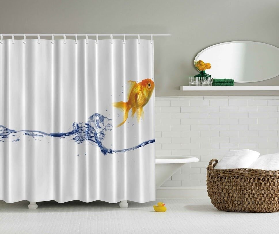 Under the Sea Bathroom Decor Beautiful Under the Sea Goldfish Digital Print Shower Curtain Nautical Ocean Bath Decor