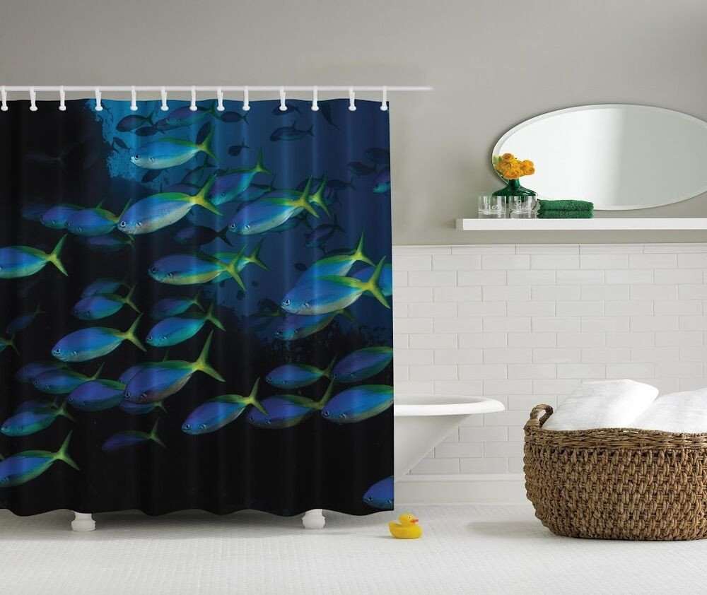 Under the Sea Bathroom Decor Beautiful Under the Sea Graphic Shower Curtain Ocean Glowing Fish Blue Bath Decor