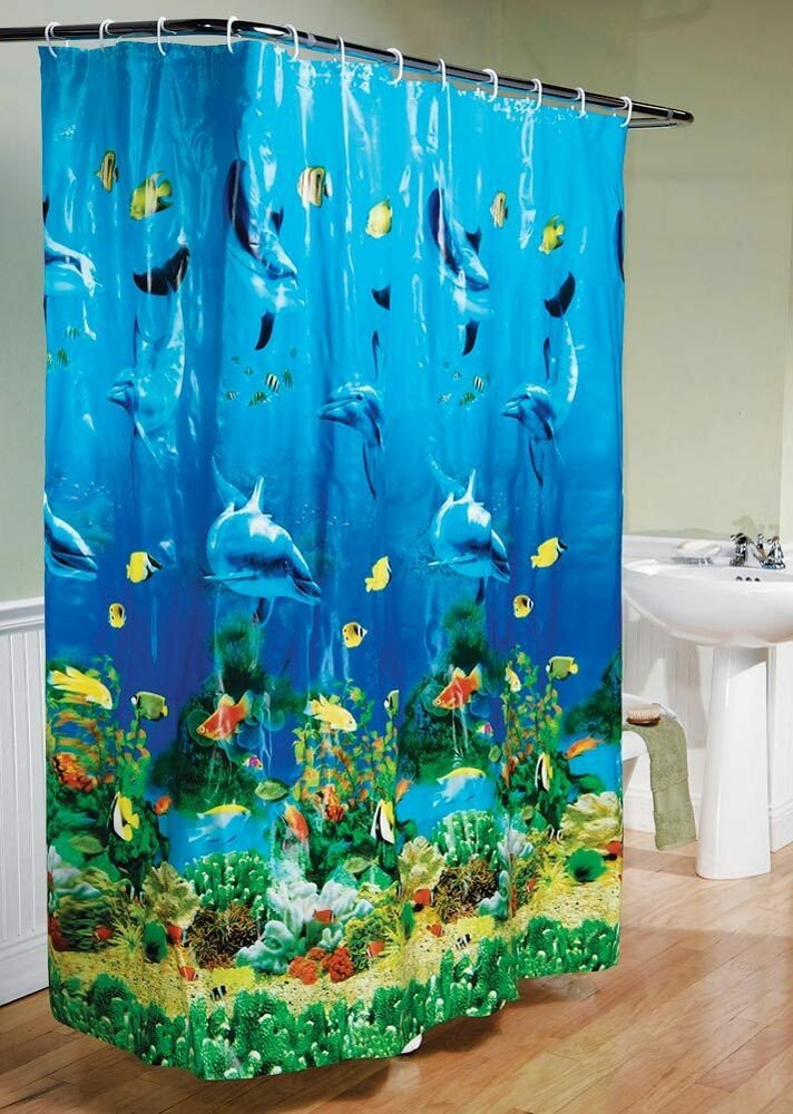Under the Sea Bathroom Decor New Dolphin Bay Under the Sea Bathroom Shower Curtain Vivid Fish Coral Sealife New