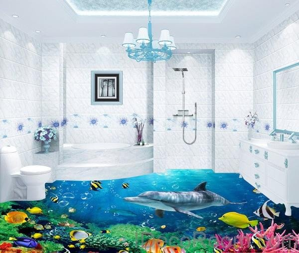 Under the Sea Bathroom Decor New Dophin Coral Colorful Fish Under the Sea Floor Decals 3d Wallpap – Idecoroom