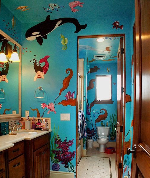 Under the Sea Bathroom Decor New Interior and Exterior Murals Mural Album by Dawn Whitney Hall