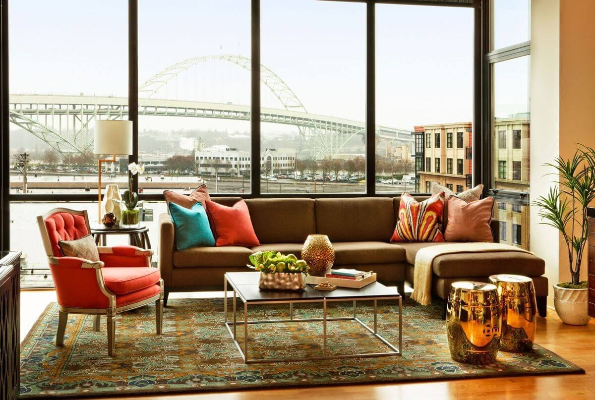 Urban Contemporary Living Room Elegant Garrison Hullinger Interior Design Creates Chic Condo Interior Design