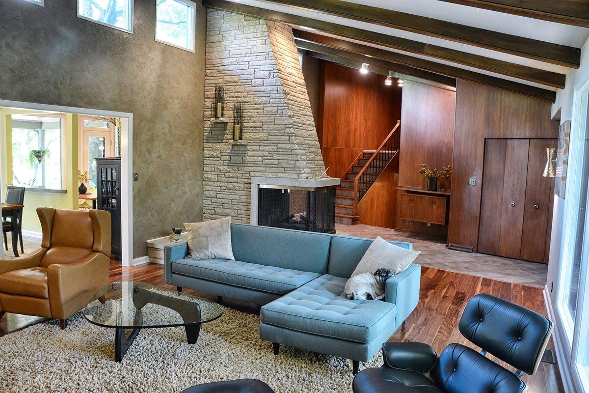 Vintage Contemporary Living Room Elegant Modern Retro Living Room Design Floating Multi Wall