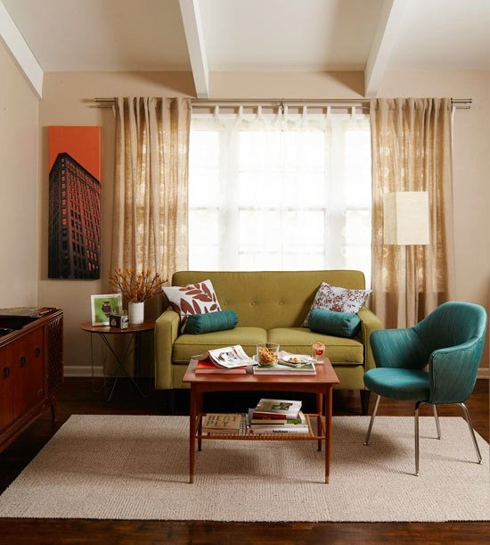 Vintage Contemporary Living Room Lovely Mid Century Modern Curtains