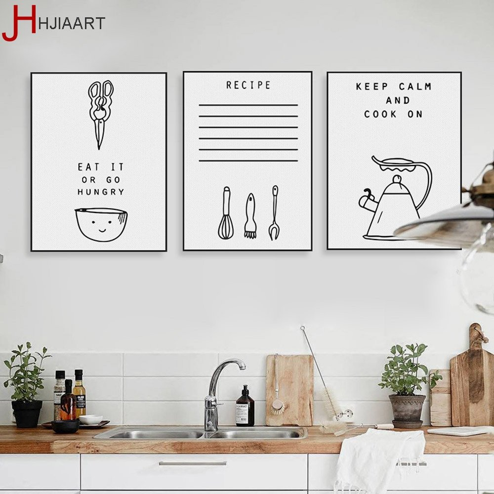 Wall Art Decor for Kitchen Elegant Black White Kawaii Cooking Quotes Poster nordic Kitchen Wall Art Print Home Decor
