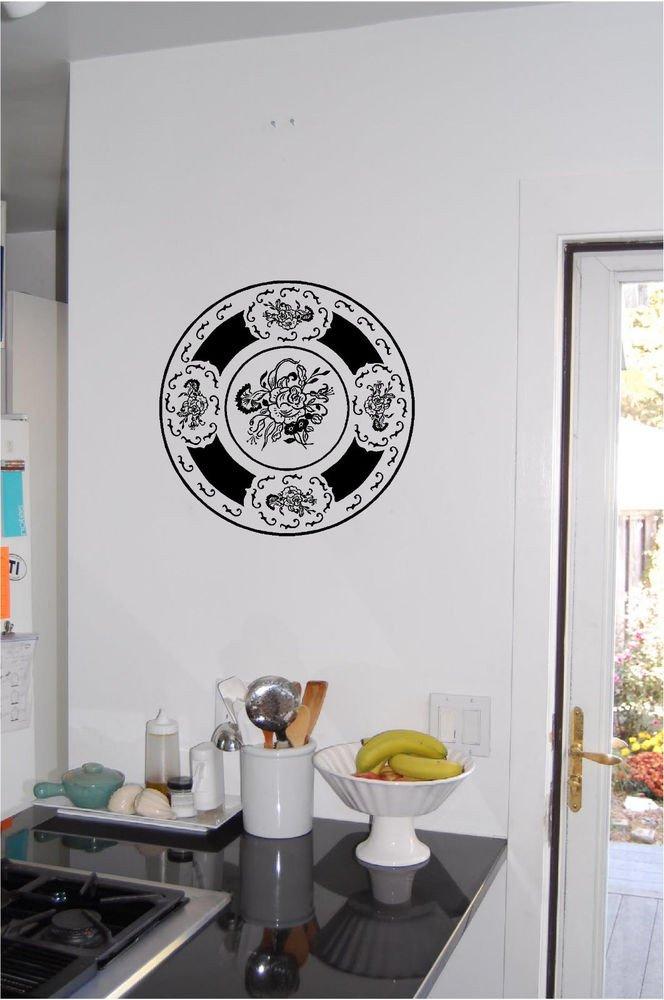 Wall Art Decor for Kitchen Elegant Decorative Plate Wall Sticker Wall Art Kitchen Decor Vinyl Stickers