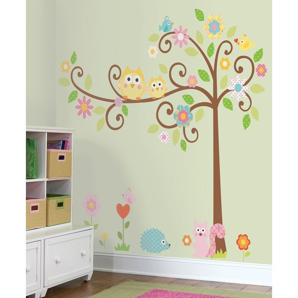 New Giant SCROLL TREE WALL DECALS Baby Nursery Stickers Kids Bedroom Decor