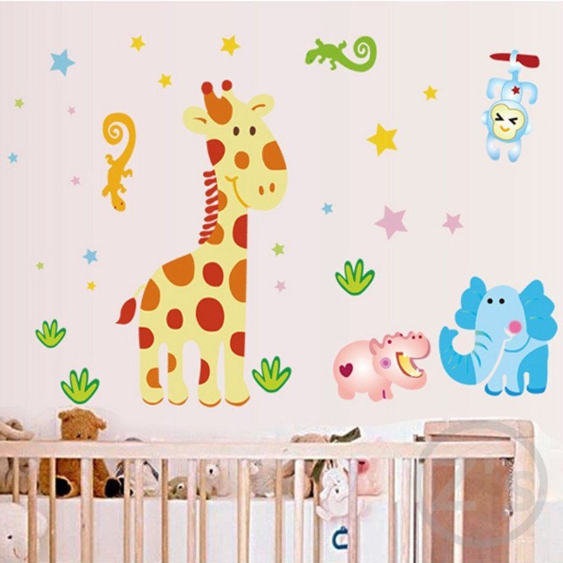 Wall Decor for Baby Room Lovely Cartoon Giraffe Wall Stickers for Nursery Baby Room Wallpaper Babies Wall Decor Children Room