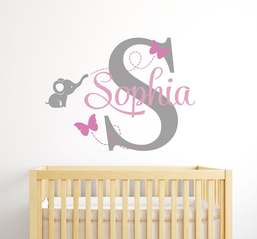 Wall Decor for Baby Rooms Best Of Custom Elephant Girl Name Wall Decal Baby Room Decor Elephant Wall Decor