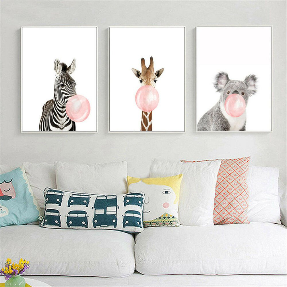 Wall Decor for Baby Rooms New Animal Koala Giraffe Zebra Canvas Poster Nursery Wall Art Print Baby Room Decor