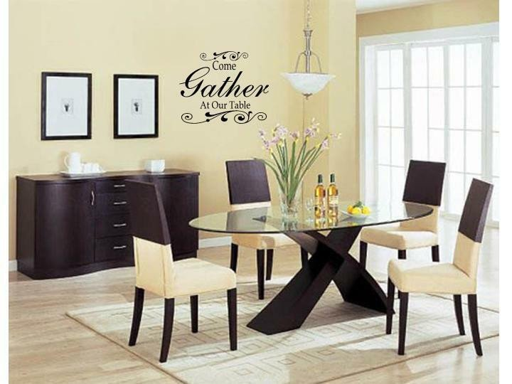 E GATHER AT OUR TABLE Wall Art Decal Decor Kitchen Dining Room Home